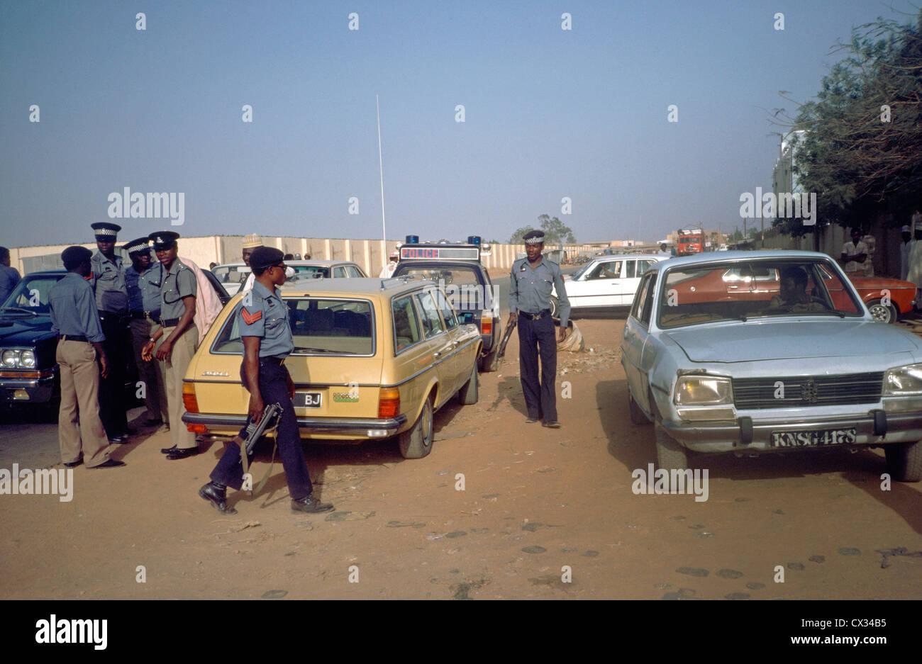 Kano Nigeria Central Hotel bewaffnete Polizei Stockbild