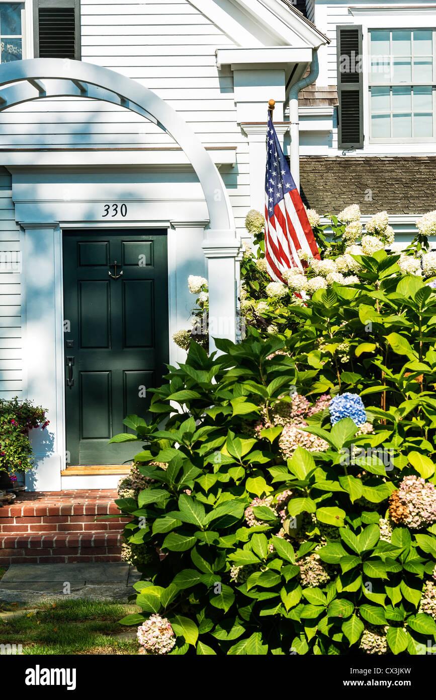 Malerisches Haus im Kolonialstil, Chatham, Cape Cod, Massachusetts, USA Stockbild