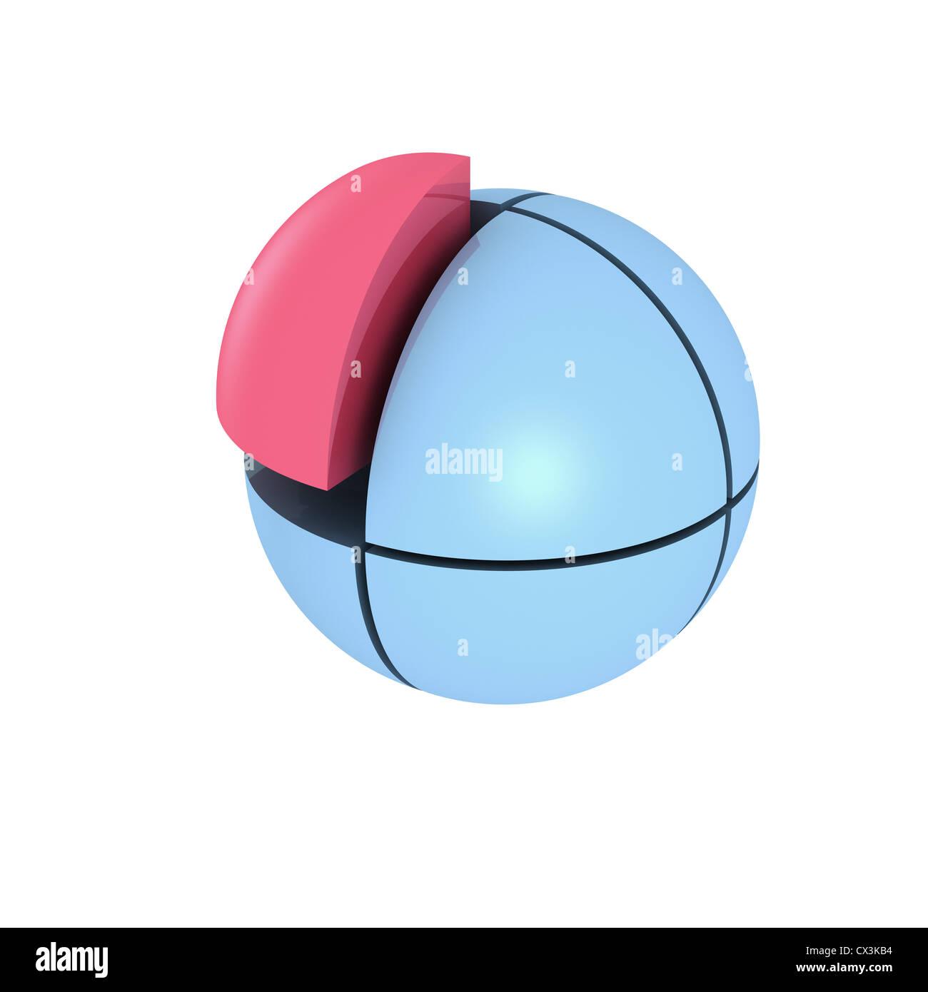 Blaue Kugel aus 8 Unfallhilfe, Ein abschwenken ist Rot - blaue Kugel aus 8 Teile, 1 Teil ist rot Stockbild