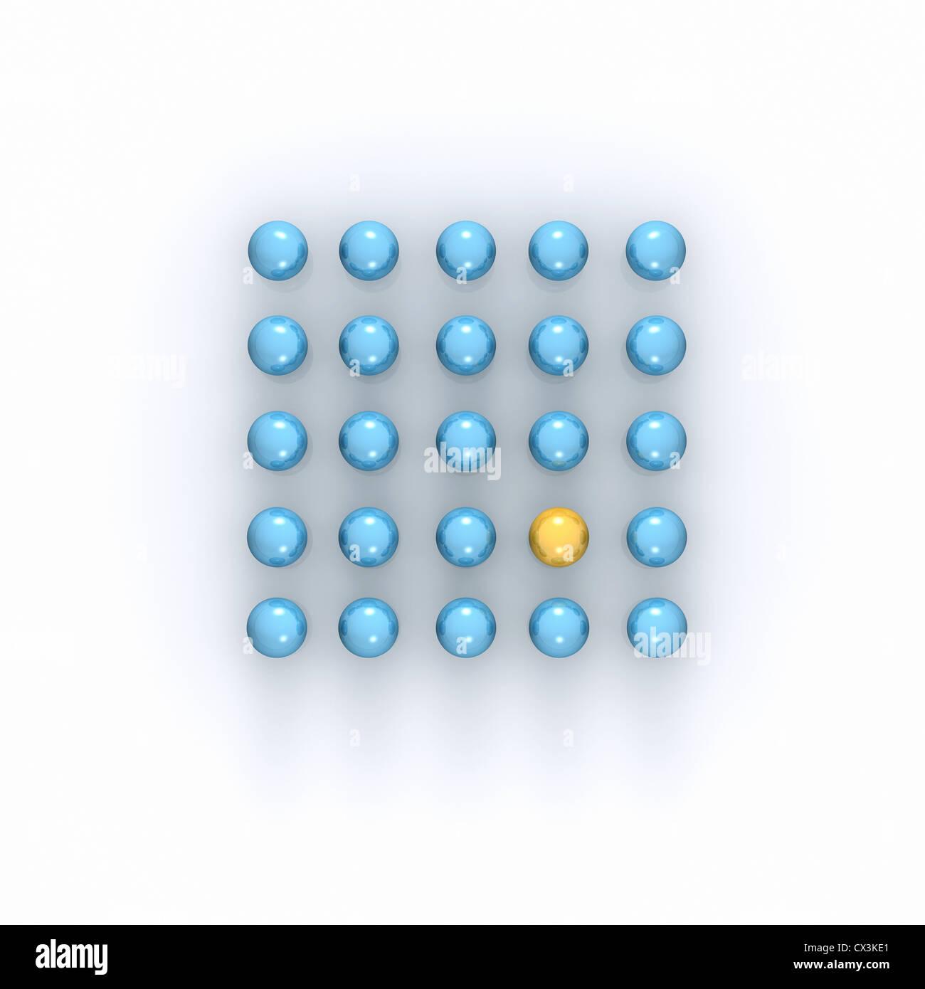 Platz der blauen Kugeln ist eine gelb - Quadrat aus 25 Blauen Kugeln, Eine ist Gelb - Stockbild