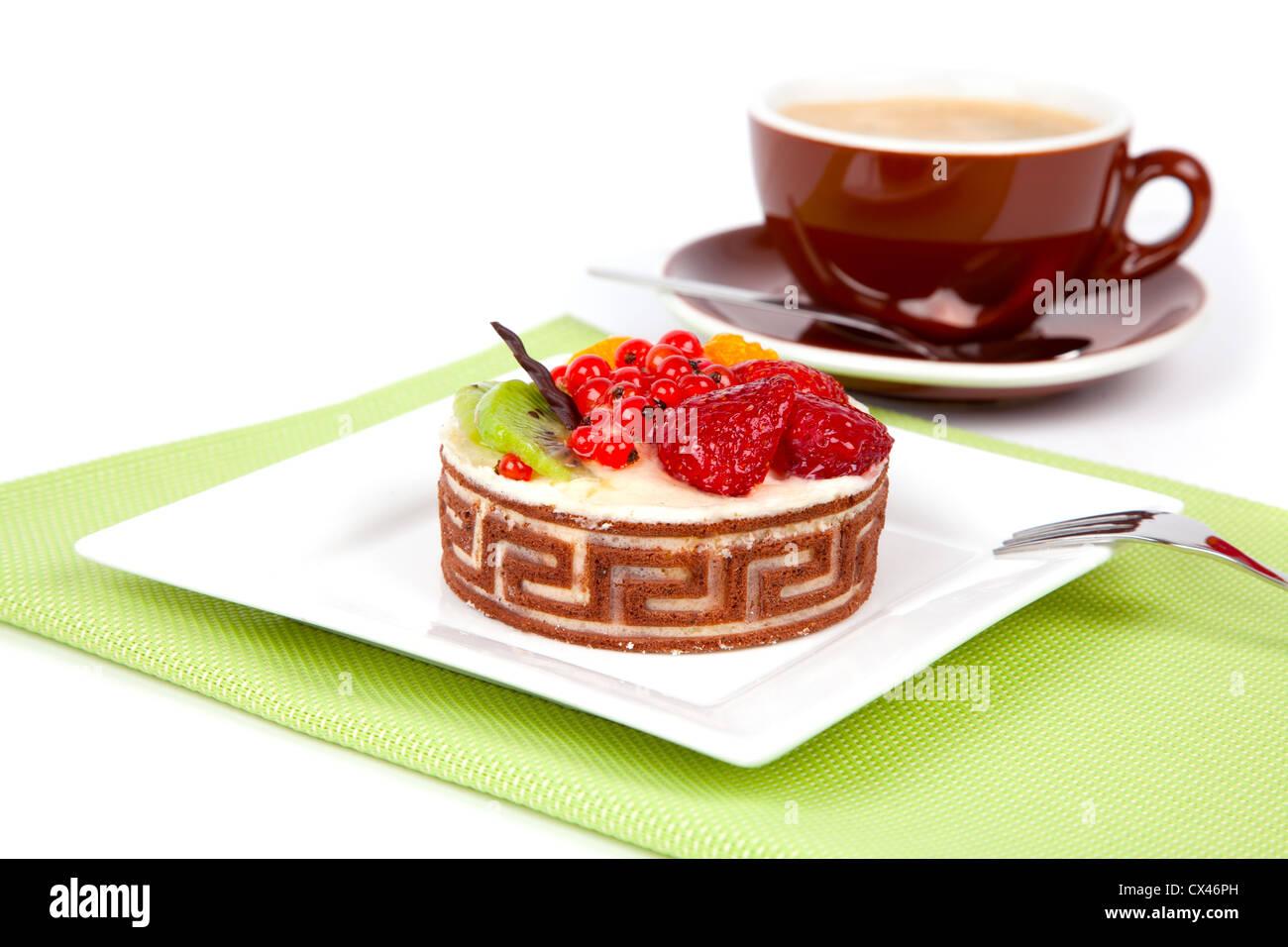 Kalorienarme Frucht Kuchen Mit Tasse Caffee Auf Weissem Hintergrund