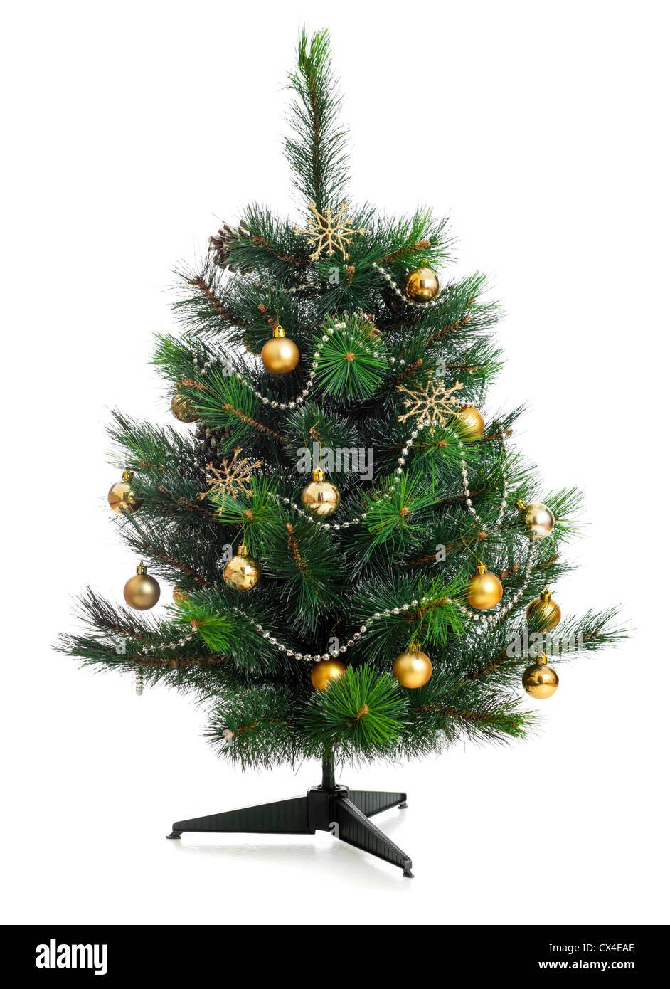 Kleinen geschmückter Weihnachtsbaum, isoliert auf weiss Stockfoto