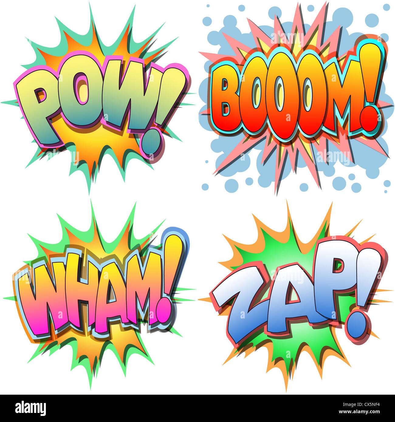 Eine Auswahl an Comic-Buch-Illustrationen Pow, Boom, Wham, Zap Stockbild