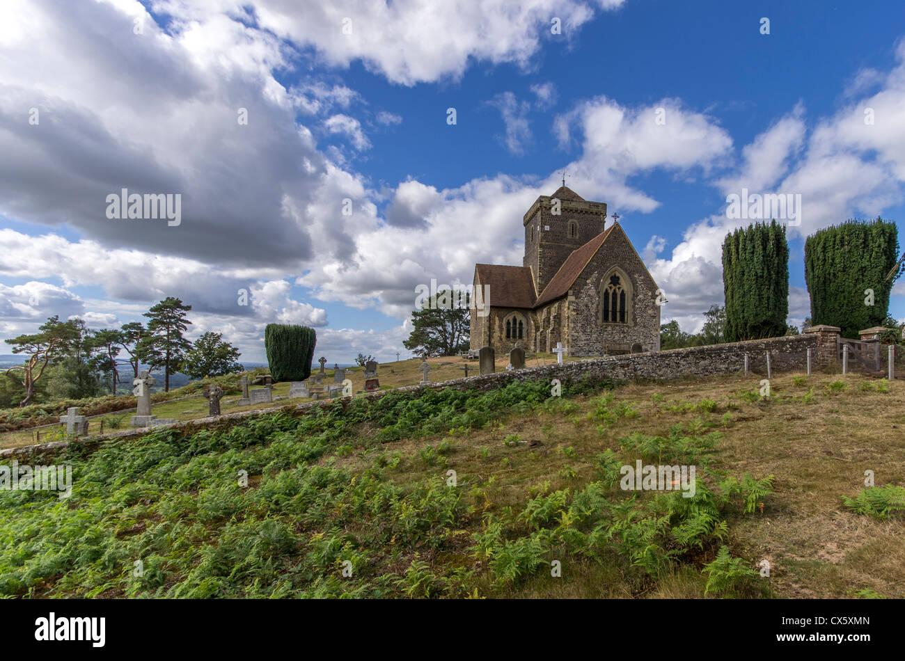 St. Martha Kirche, North Downs, Surrey Stockbild