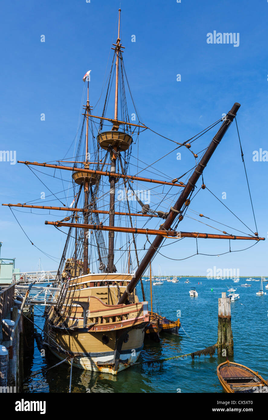 Die Mayflower II, eine Nachbildung des ursprünglichen Mayflower, State Pier, Plymouth, Massachusetts, USA Stockfoto