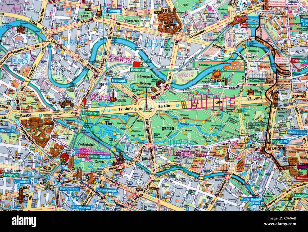 Berlin Mitte Karte.Nahaufnahme Von Einer Karte Von Berlin Mitte Deutschland Stockfoto