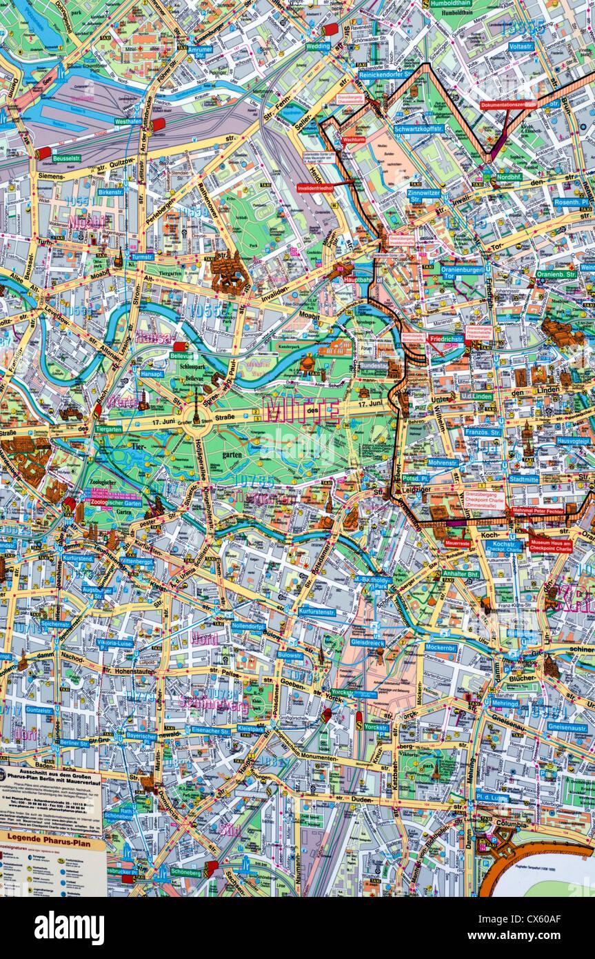 Berlin Mitte Karte.Detail Einer Karte Von Berlin Mitte In Deutschland Stockfoto Bild