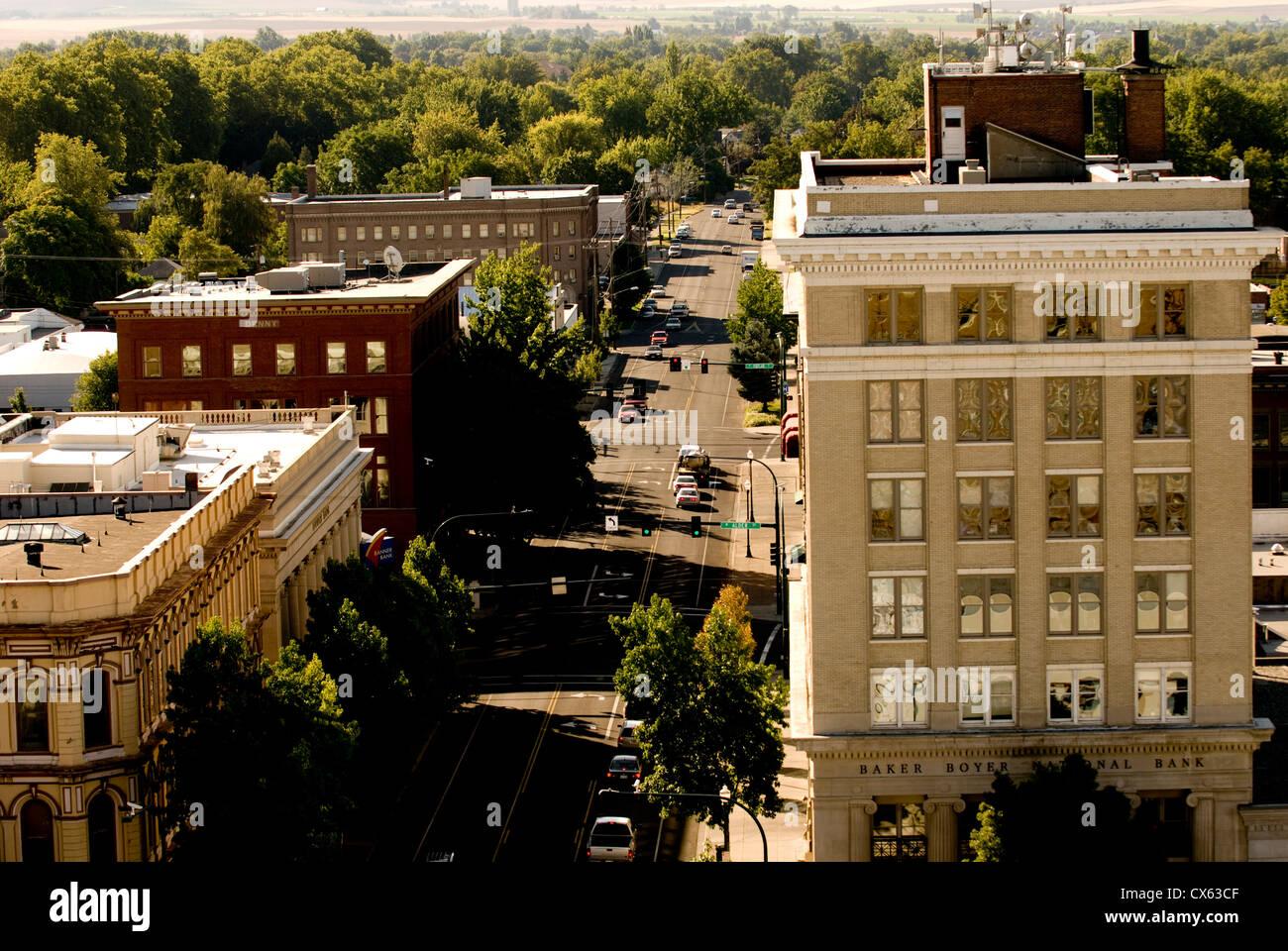 Aussicht auf die Innenstadt Walla Walla Walla Walla, Washington State, USA Stockfoto
