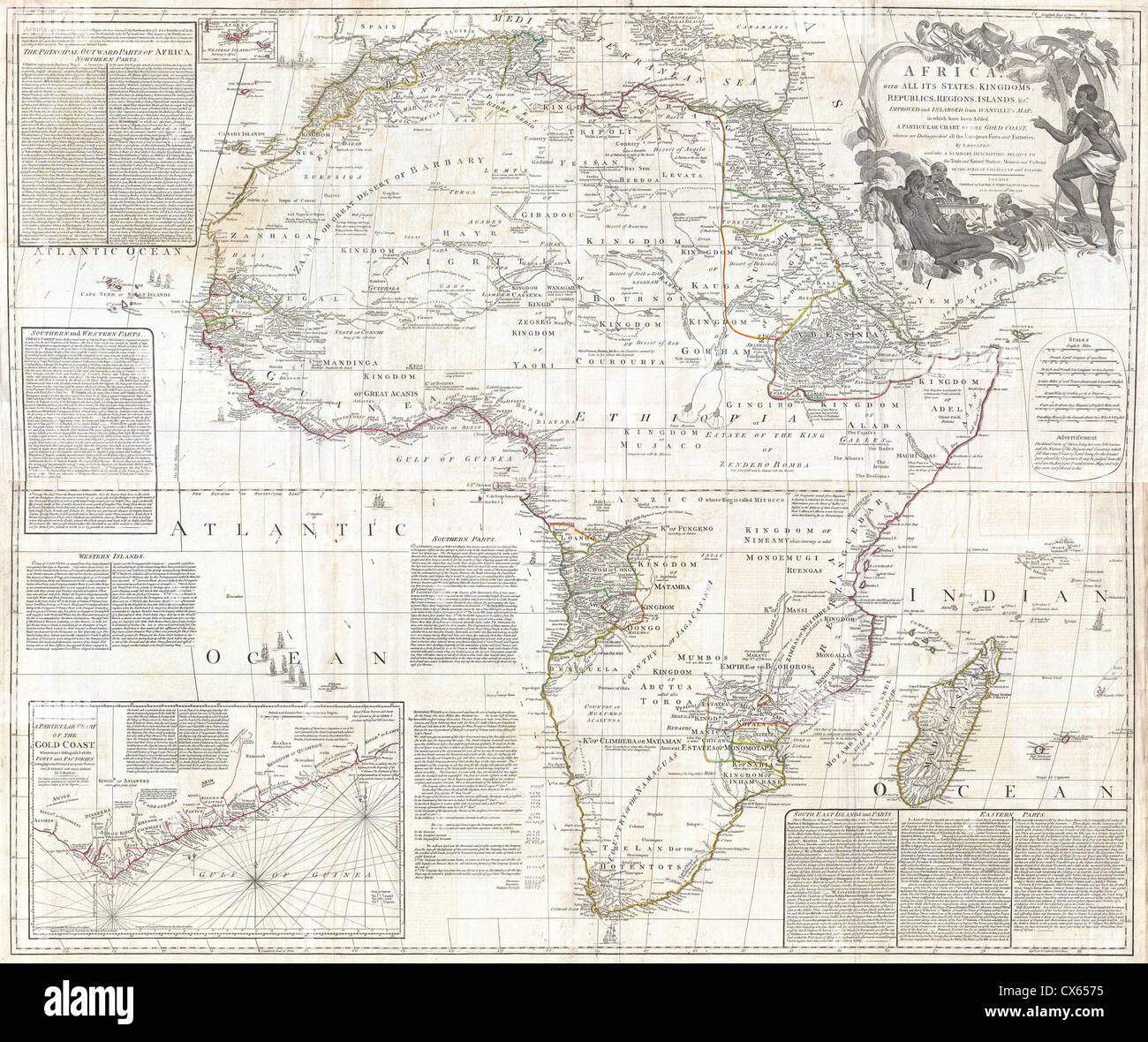 1794 Boulton und Anville Wall Map of Africa (wichtigste 18. Cntry ...