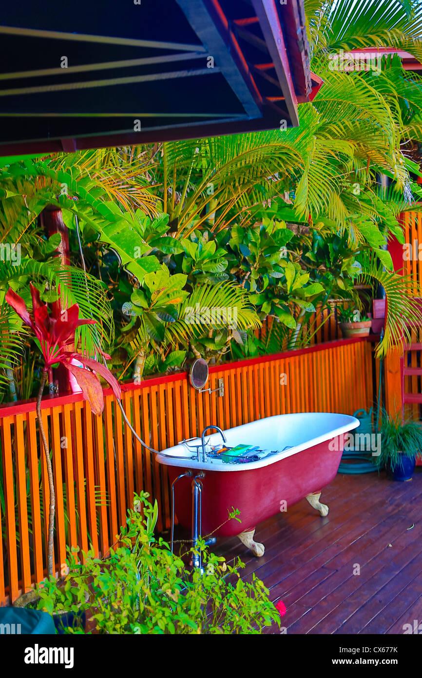 Klaue Fuß, im Freien, Badewanne, Fidschi Stockbild