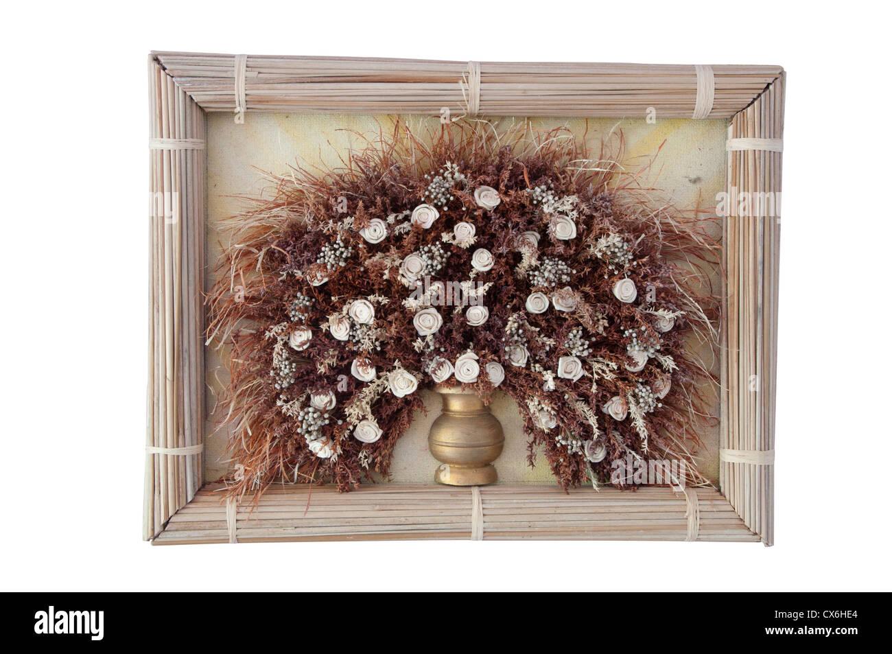 Trockenblumen in einem frame Stockbild