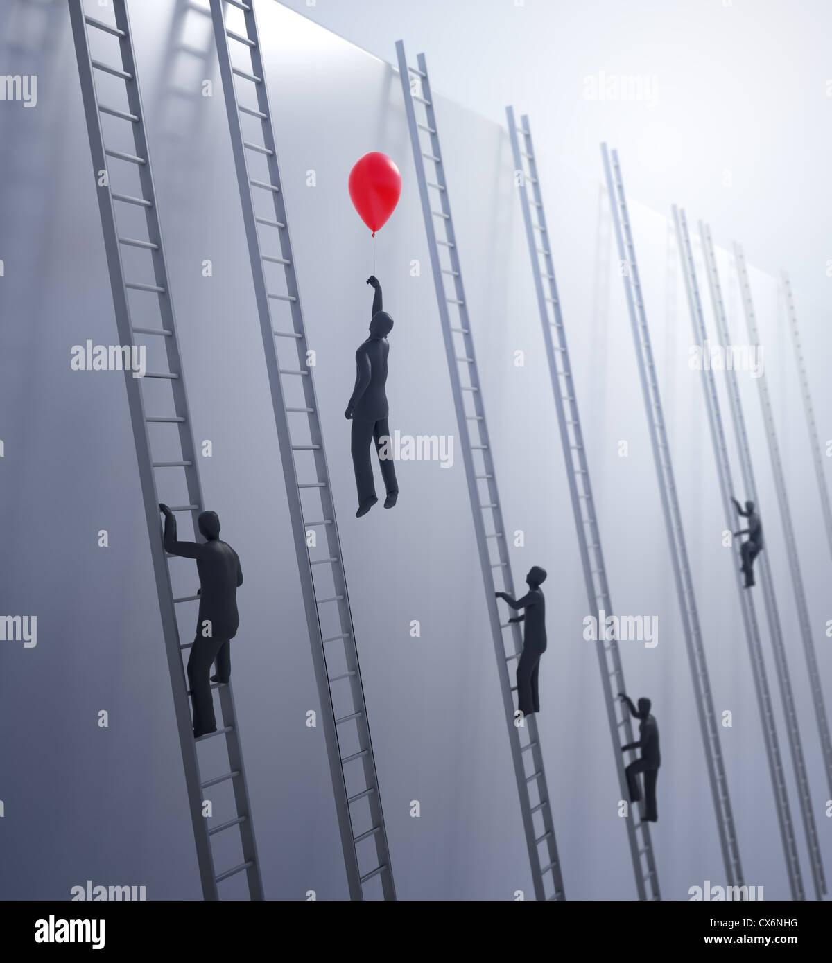 Winzige abstrakten Menschen besteigen von Leitern - Innovation und Vorteil in Business-Konzept Stockbild