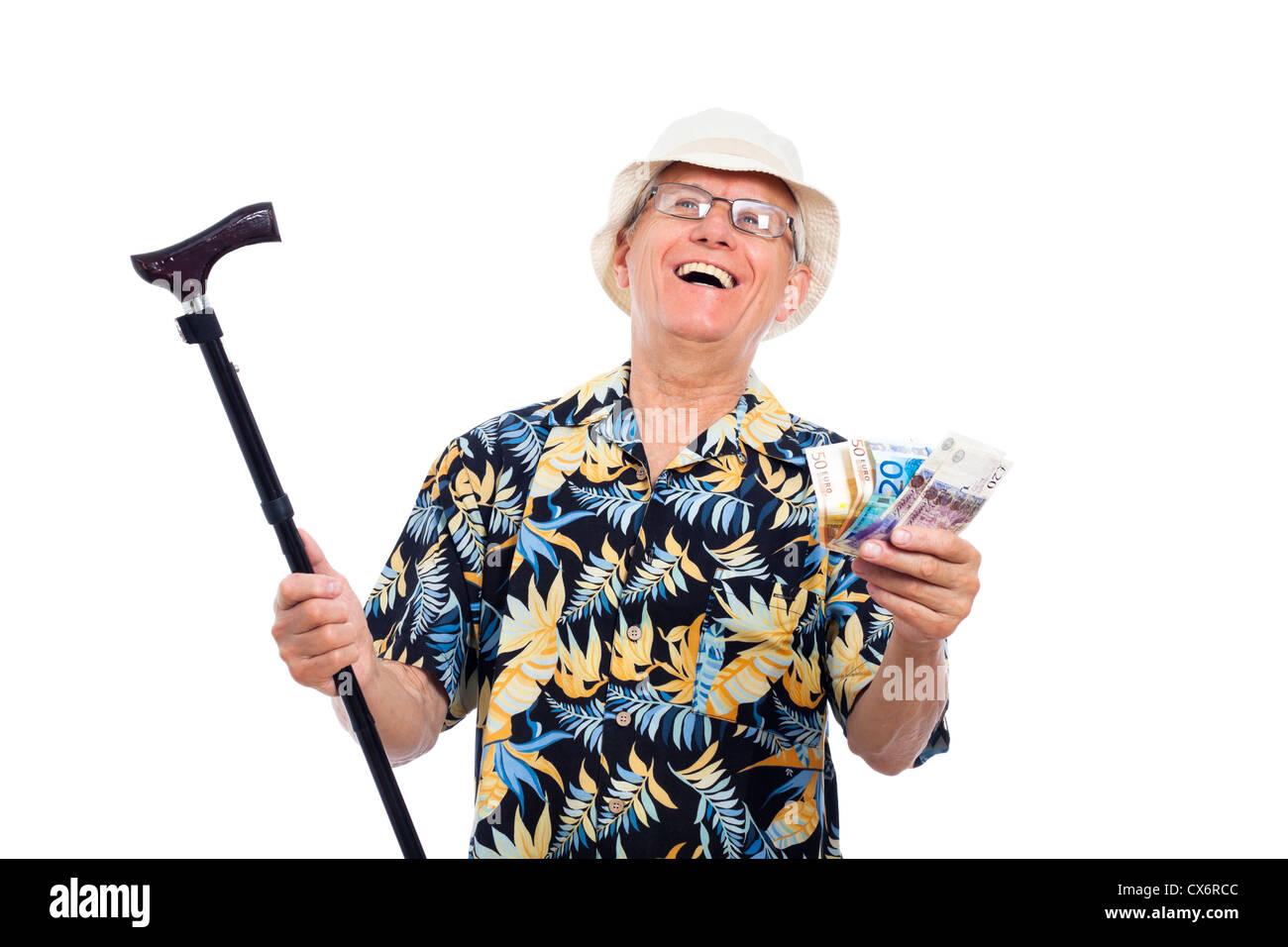 Glücklich aufgeregt reichen senior Mann, der Geld und Zuckerrohr, isoliert auf weißem Hintergrund. Stockbild