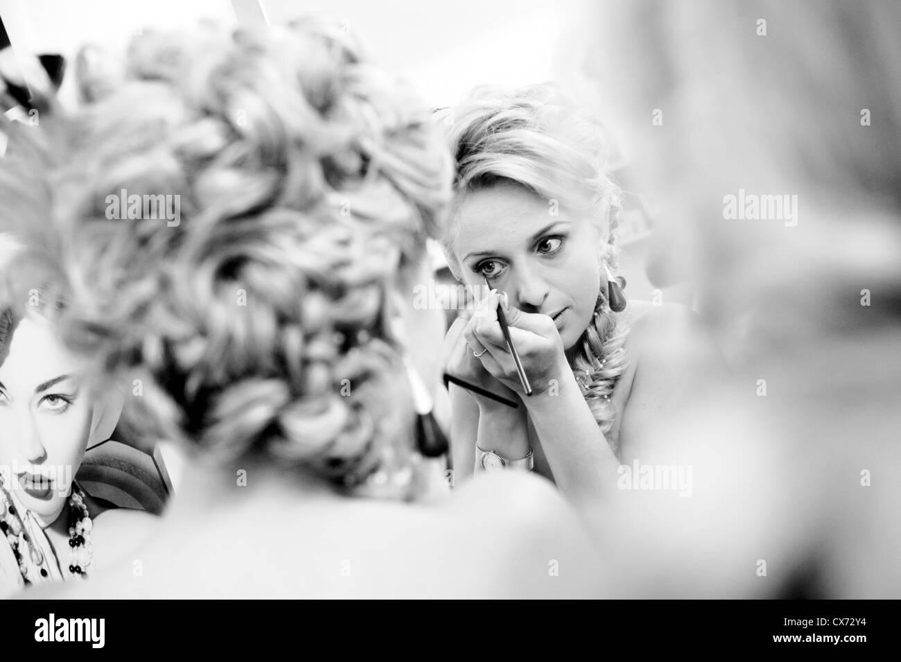 Blonde Mädchen Lidstrich Stockbild