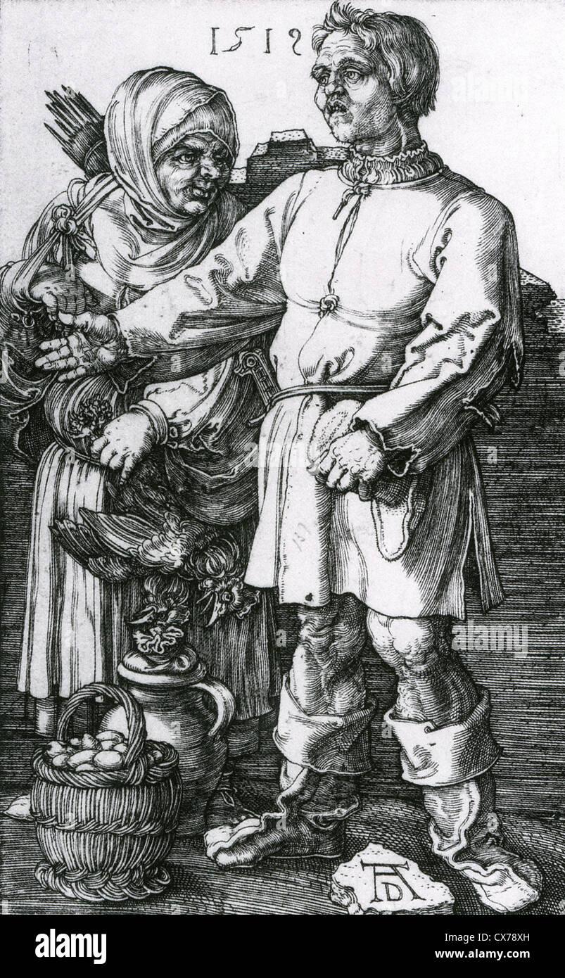ALBRECHT Dürer (1471-1528) Gravur Der Marktbauer Und Sein Weib, Holzschnitt datiert 1519 Stockbild