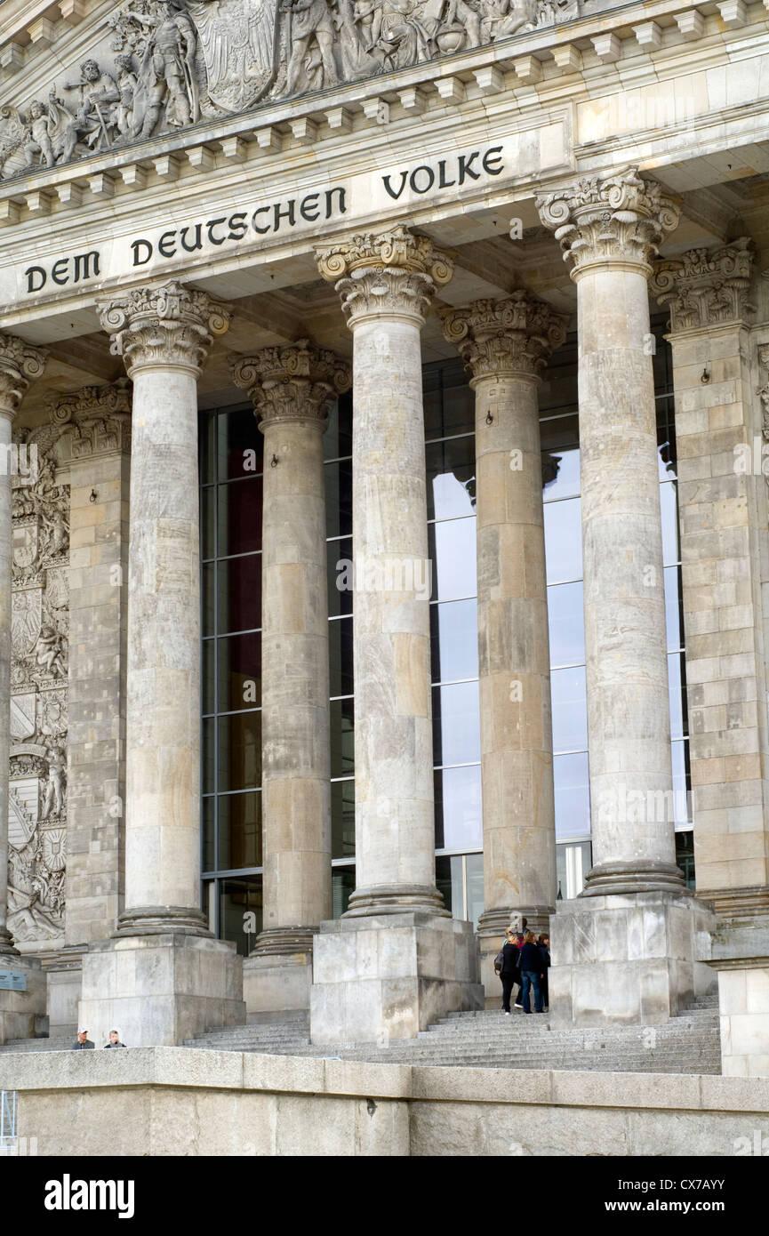 Äußere des Reichstagsgebäudes in Berlin, Deutschland Stockbild