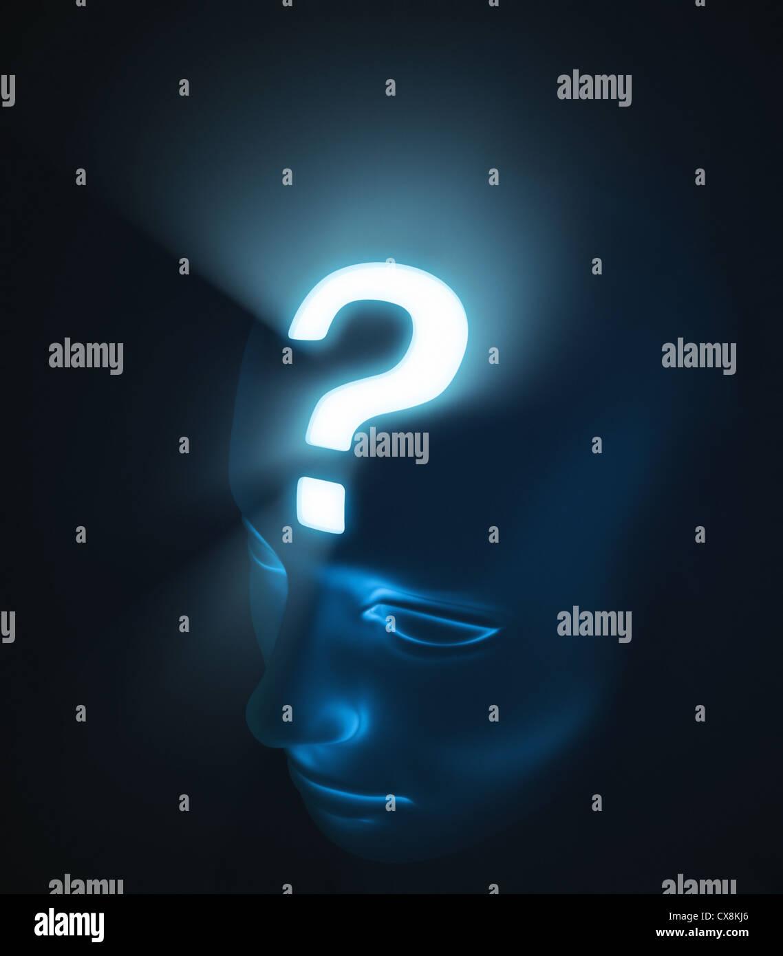 Kopf mit Verhör. Das starke Licht im Inneren des Kopfes stellt die Intensität des Zweifels. Stockbild