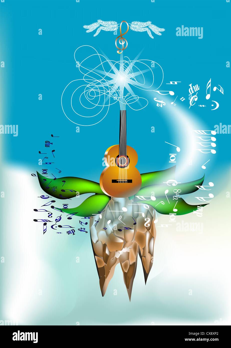 abstrakte musikalische Untermalung mit Gitarre und Violinschlüssel Stockbild