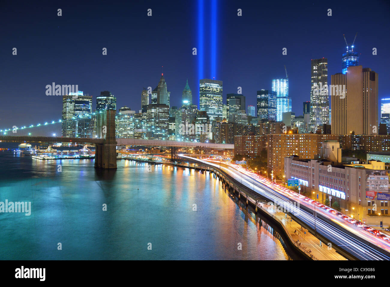 Tribute in Light in Downtown New York City im Gedenken an 9/11 Angriff. Stockfoto