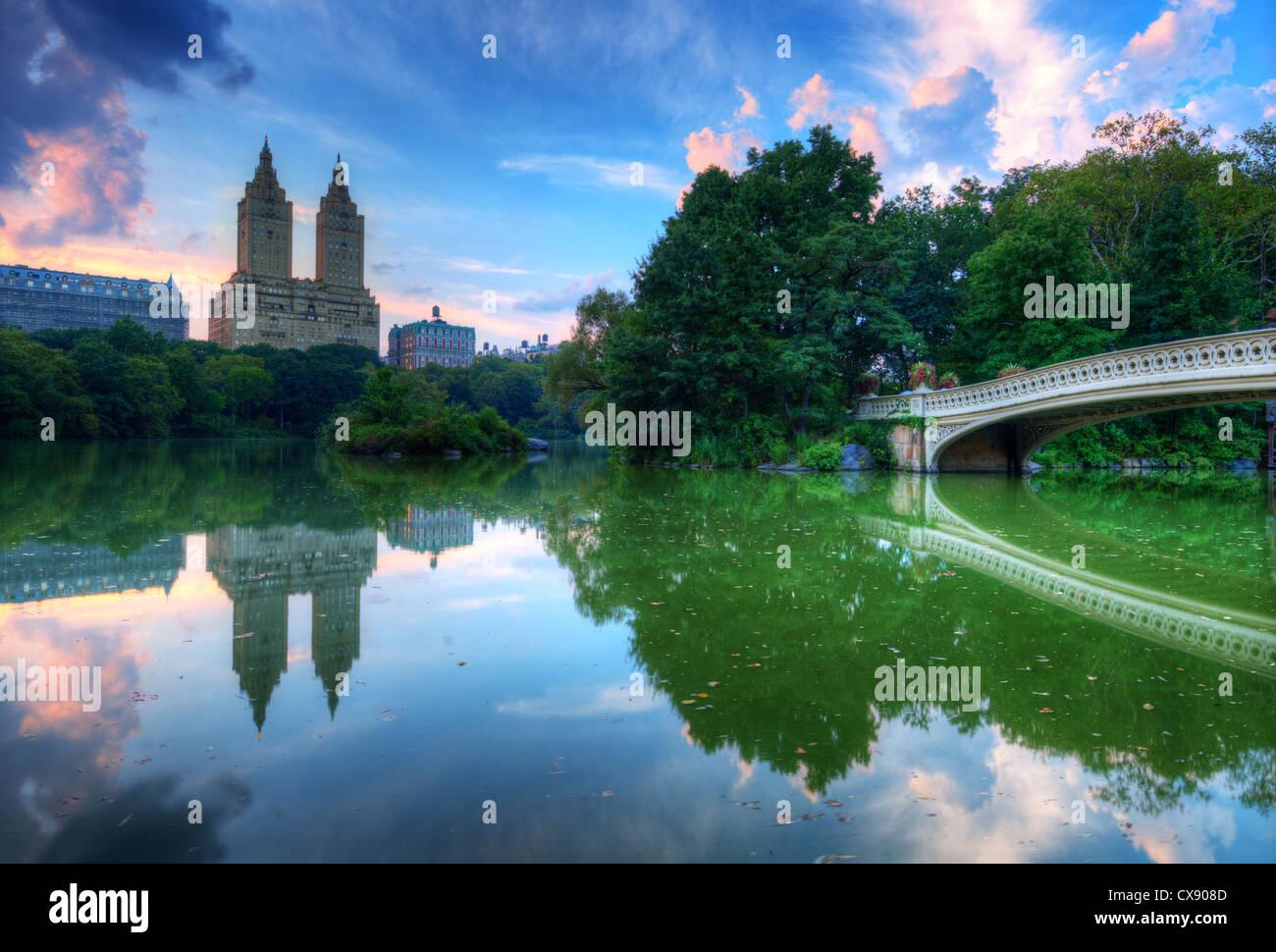 Der See im New Yorker Central Park Stockbild