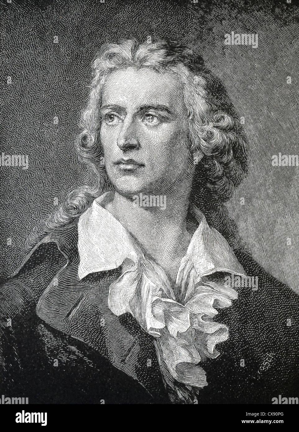Friedrich von Schiller (1759-1805) war ein deutscher Dichter, Philosoph, Historiker und Dramatiker. Stockbild