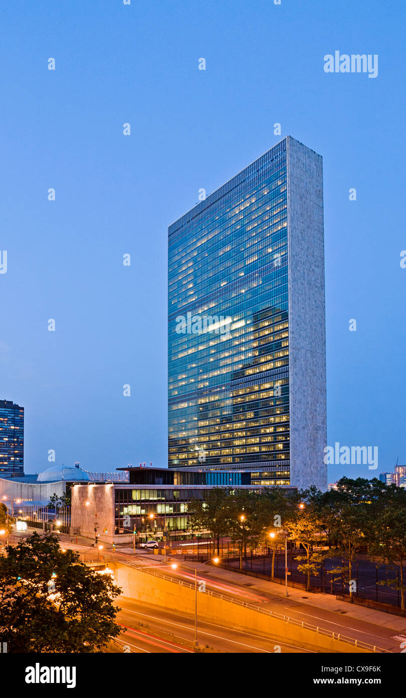 Das Sekretariat Gebäude, United Nations Hauptquartier, den Vereinten Nationen, New York City. Stockbild