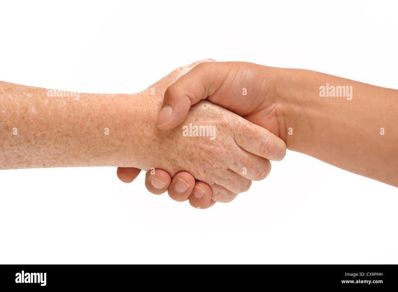 Hand schütteln Stockbild