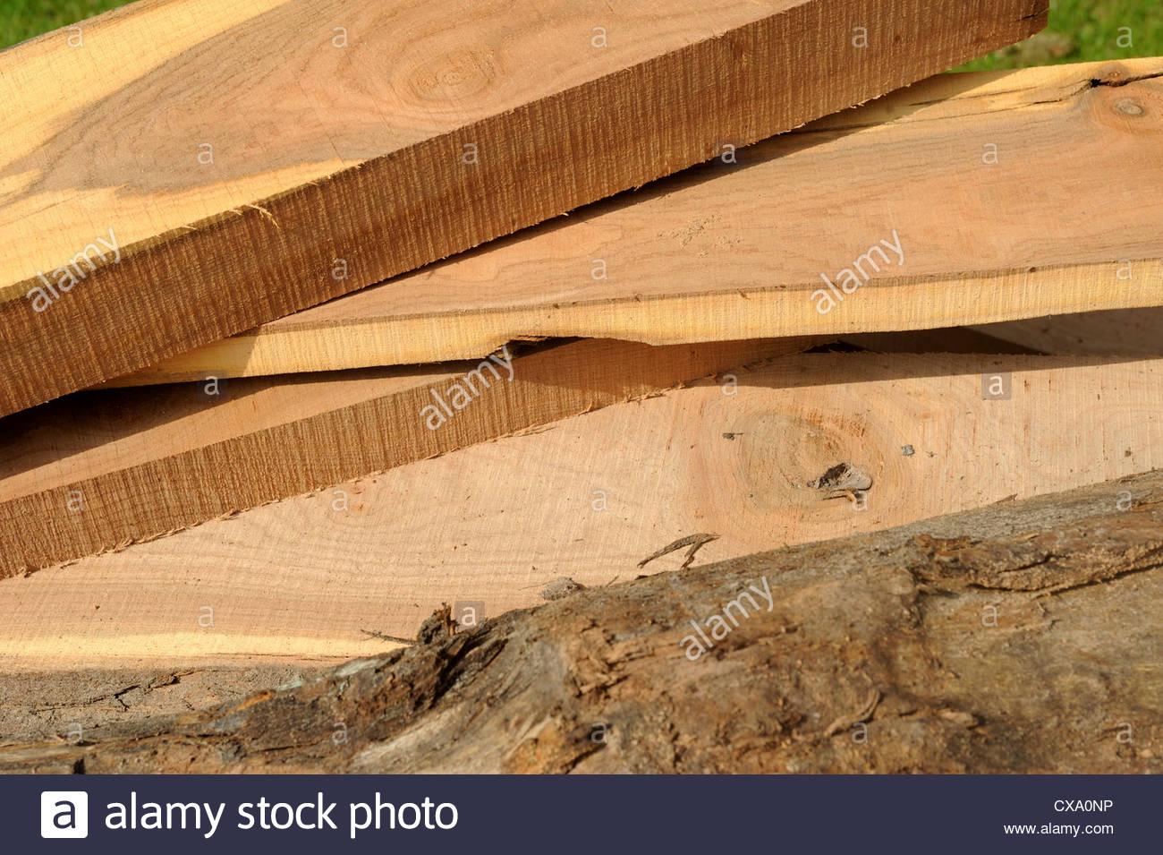 Vor kurzem Schnittholz Bretter Holz. Stockbild