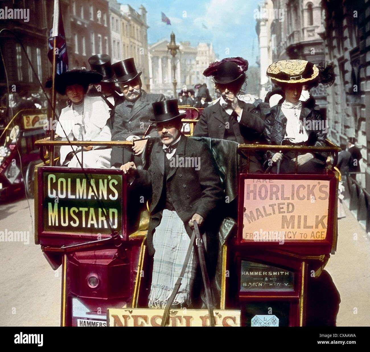 Traffic Jam, Westminster Bridge, London, England, 1897 Stockbild