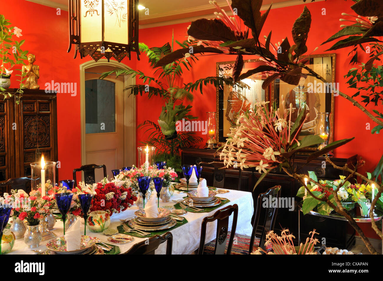 Elegante Tablesetting in Manila, Philippinen, Südostasien, Asien Stockbild
