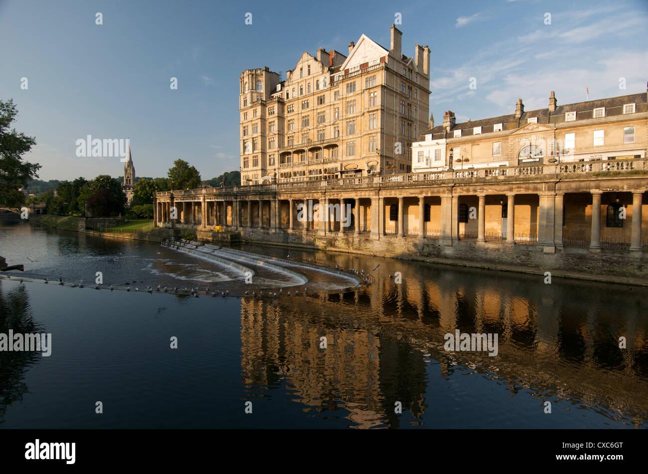 Pulteney Wehr, Bad, UNESCO-Weltkulturerbe, Avon, England, Vereinigtes Königreich, Europa Stockbild
