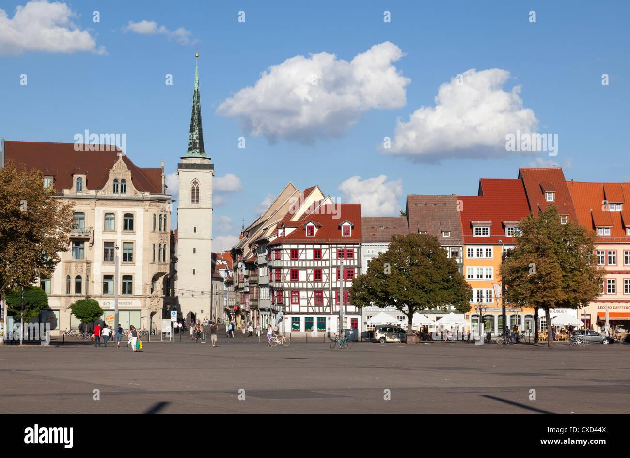 Domplatz mit Allerheiligenkirche, Erfurt, Thüringen, Deutschland Stockbild