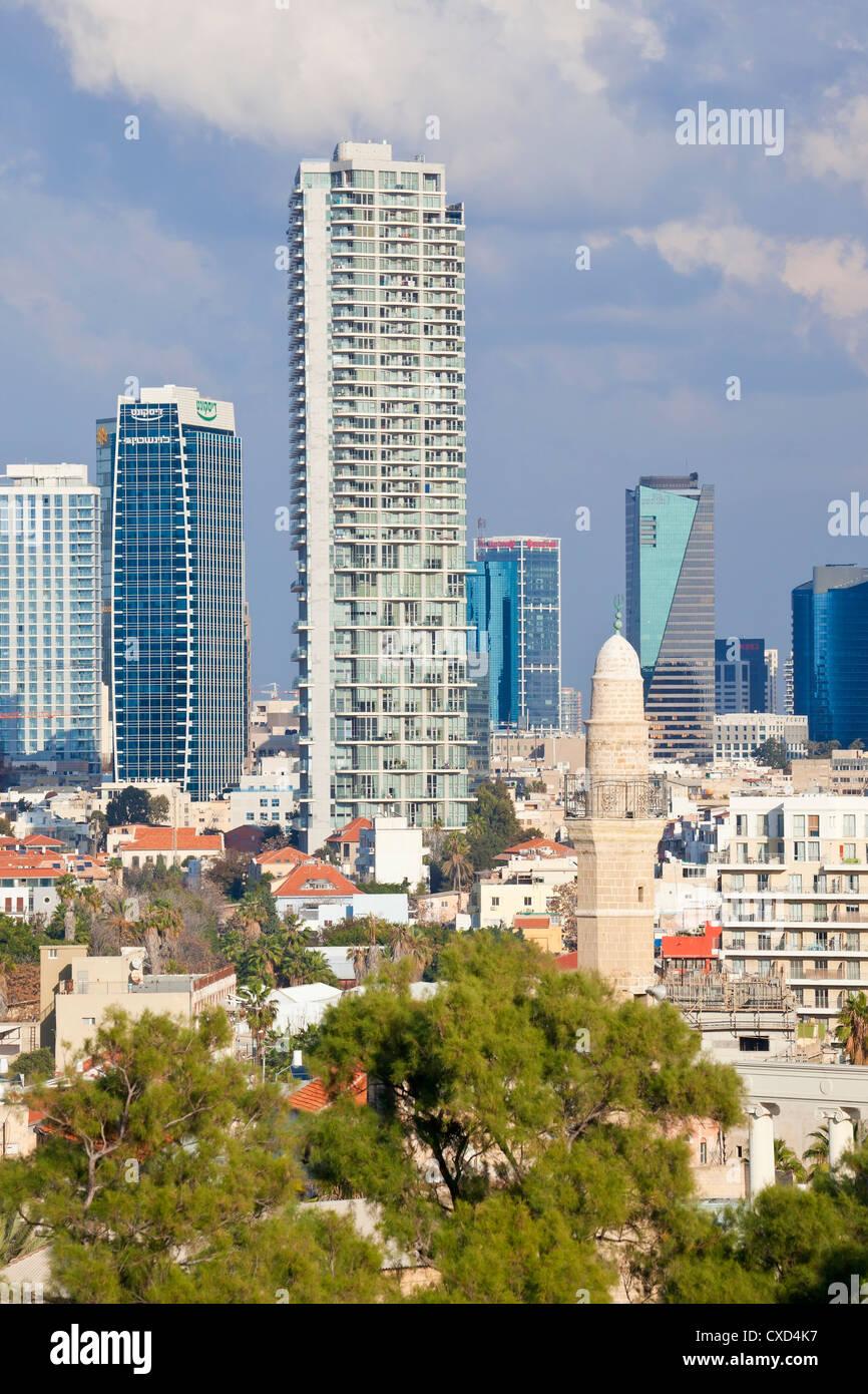 Innenstadt von Gebäuden gesehen von HaPisgah Gärten (The Summit Garden), Jaffa, Tel Aviv, Israel, Nahost Stockbild