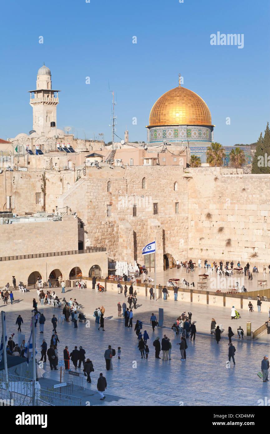 Jüdischen Viertel der westlichen Wand Plaza und Haube des Felsens über Altstadt, UNESCO-Weltkulturerbe, Stockbild