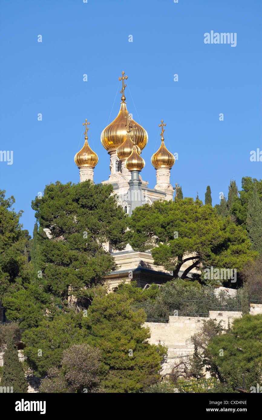 Die russische Kirche der Maria Magdalena auf dem Ölberg, Jerusalem, Israel, Nahost Stockbild