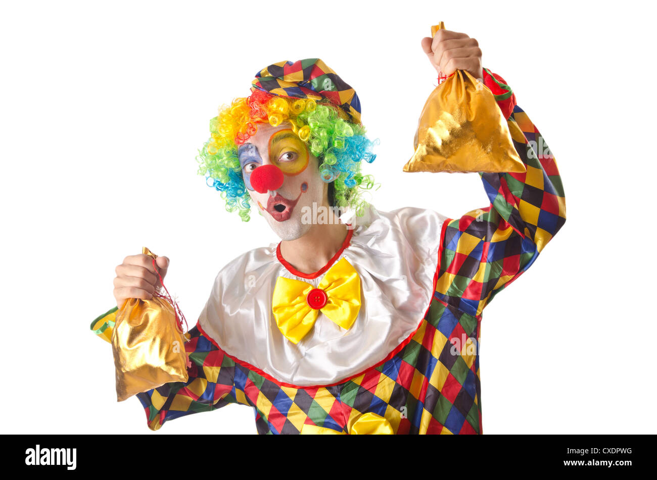 lustiger clown auf dem wei en stockfoto bild 50705132 alamy. Black Bedroom Furniture Sets. Home Design Ideas