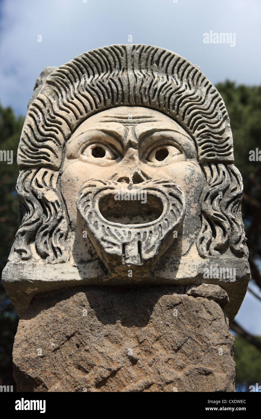 Reich verzierte Theatermaske, Ostia Antica, Rom, Latium, Italien, Europa Stockbild