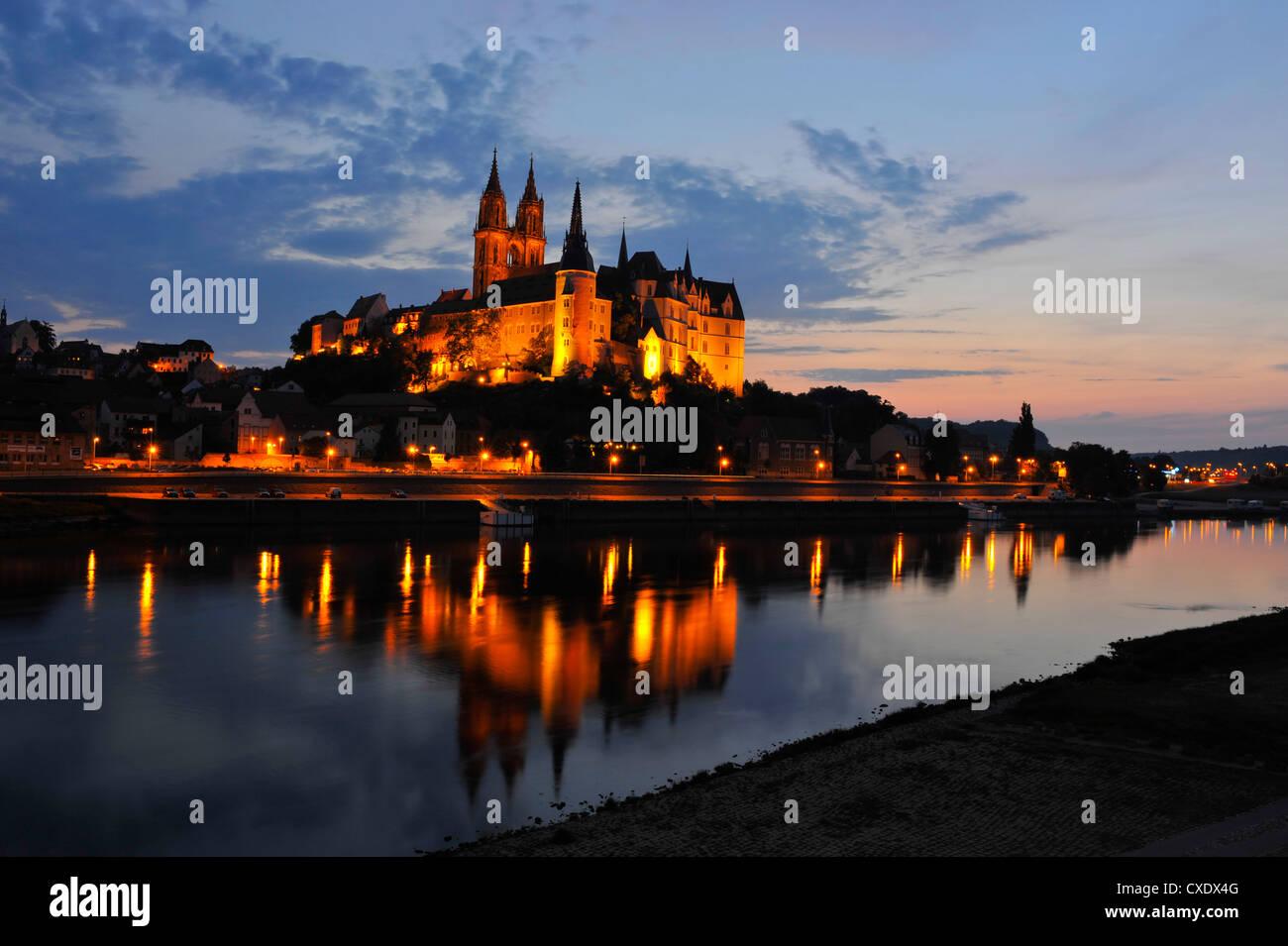 Albrechtsburg in Meißen, Sachsen, Deutschland, Nachtaufnahme Stockbild