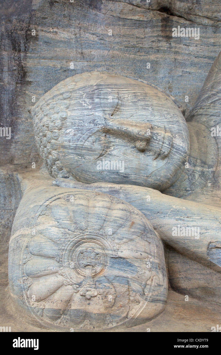 Liegender Buddha in Nirvana, Felsentempel Gal Vihara, Polonnaruwa, Sri Lanka, Asien Stockbild