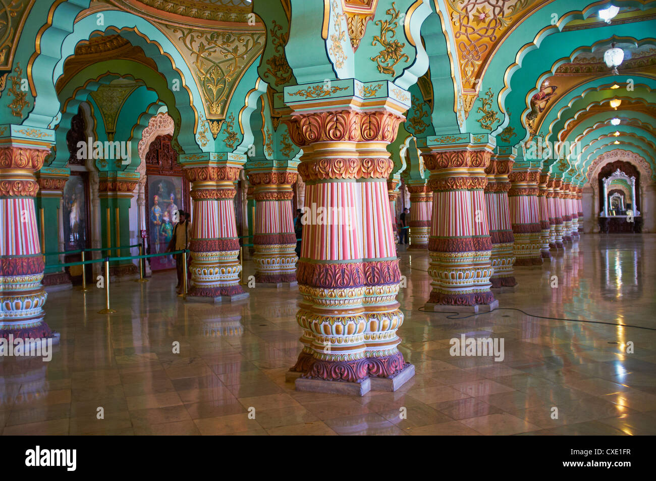 Interieur, Maharaja Palast, Mysore, Karnataka, Indien, Asien Stockbild
