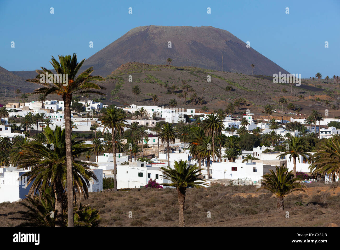 Blick über Dorf Haria, Lanzarote, Kanarische Inseln, Spanien Stockbild