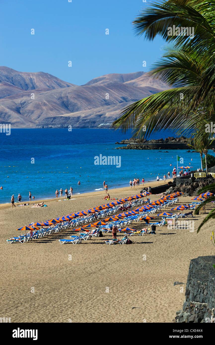 Playa Grande, Puerto del Carmen, Lanzarote, Kanarische Inseln, Spanien Stockfoto