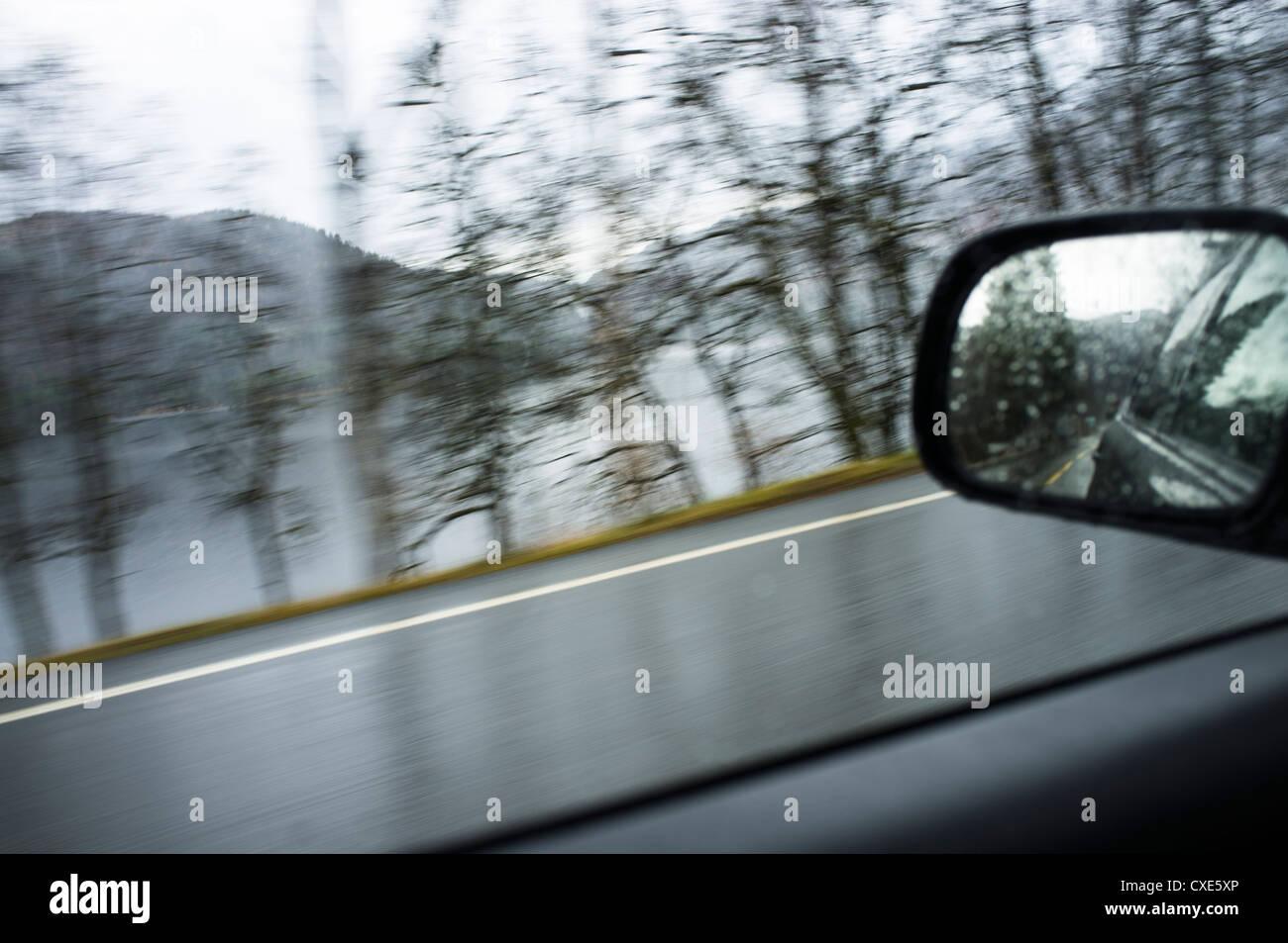Landschaft, Bil, Väg, Vei, Spegel, Speil, Fjäll, Fjell, Furz Stockbild