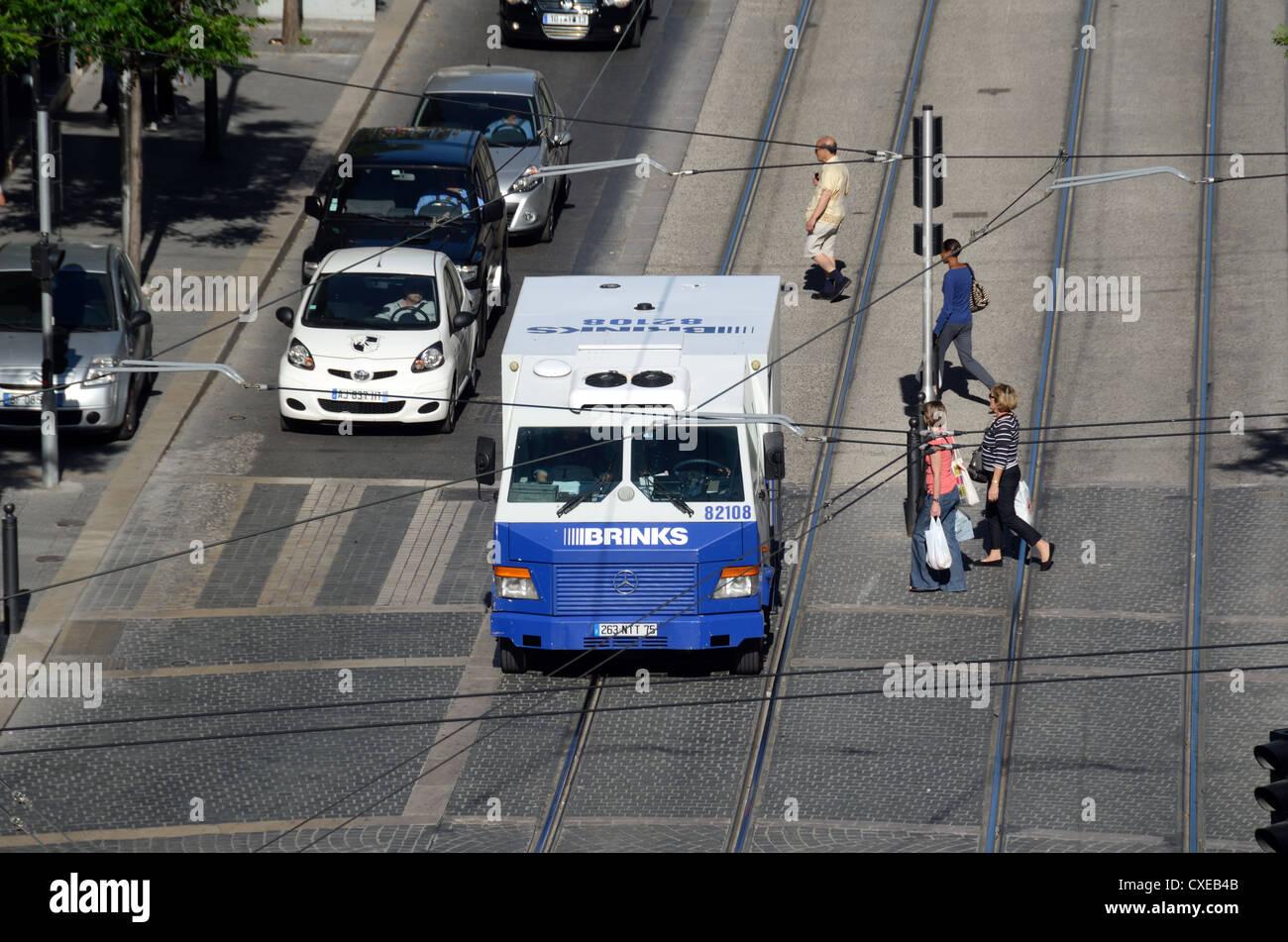 Brinks Sicherheit Van oder Fahrzeug Marseille oder Marseille Frankreich Stockbild