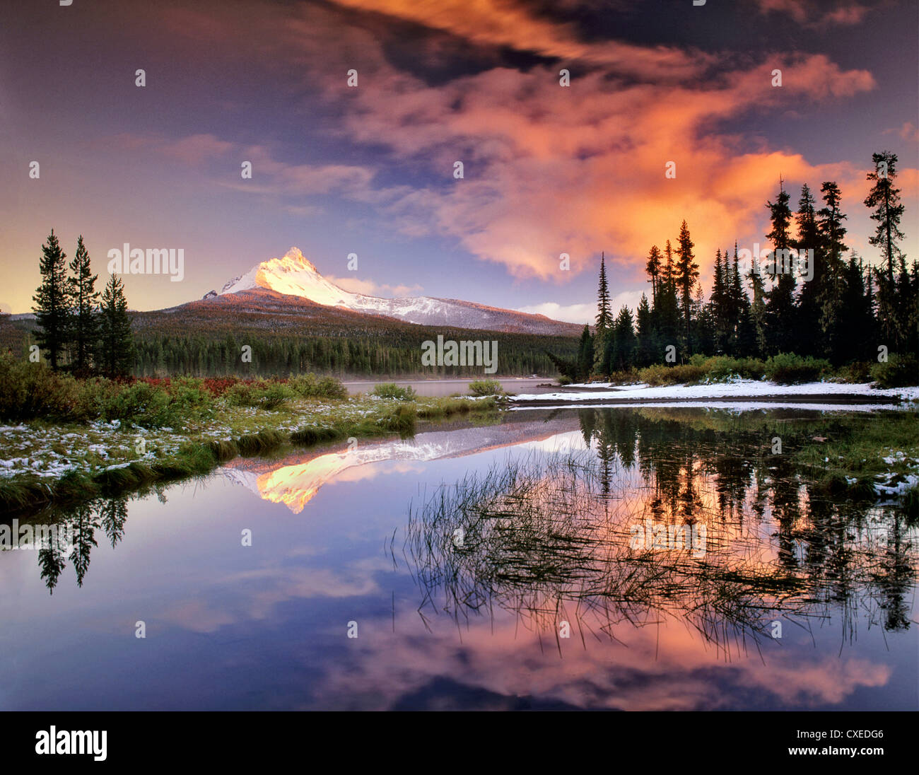 Mount Washington Reflexion in Big Lake. Oregon. Stockbild