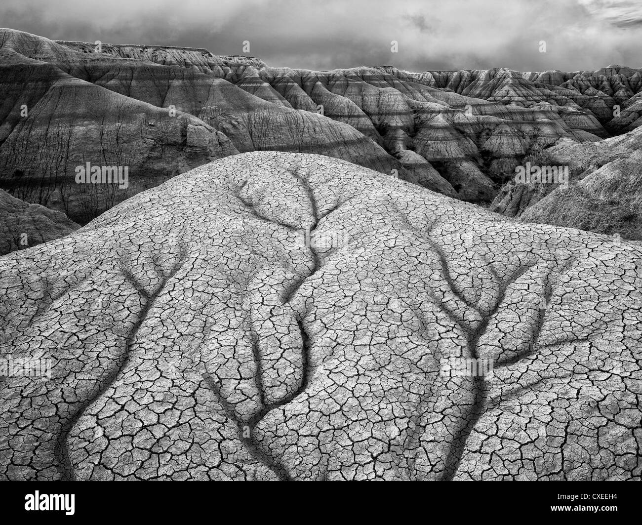 Erodiert und gebrochene Gestein und Schlamm Formationen. Badlands Nationalpark. South Dakota Formationen. Stockfoto