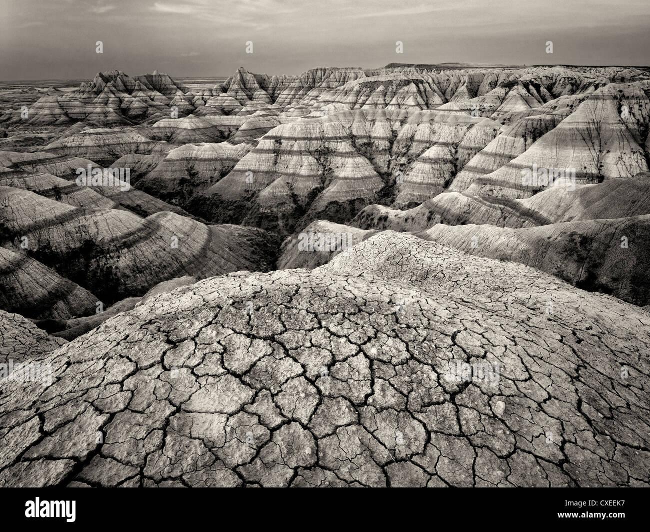 Erodiert und gebrochene Gestein und Schlamm Formationen. Badlands Nationalpark. South Dakota Formationen. Stockbild