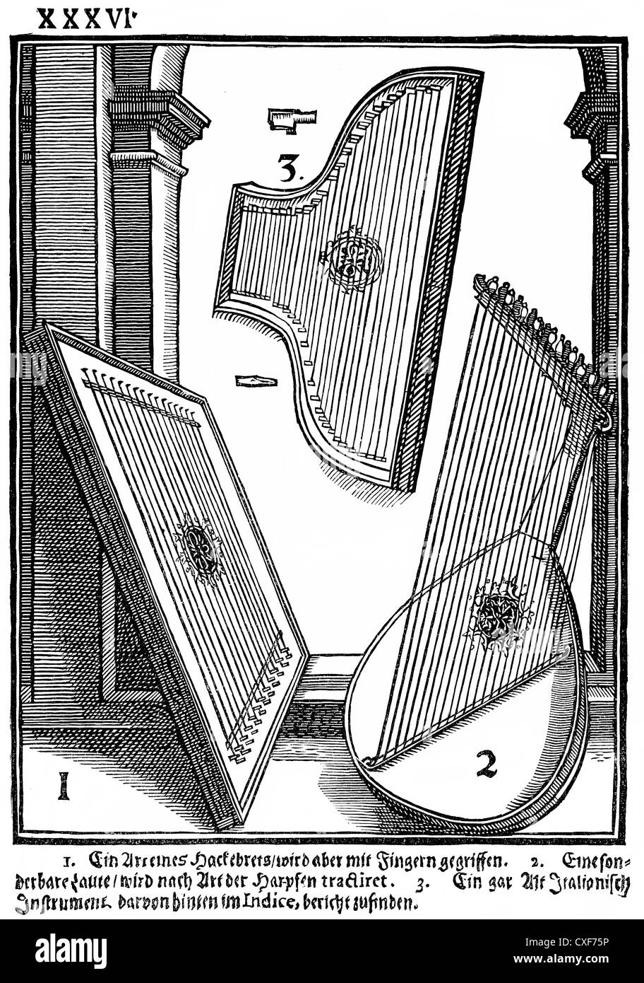 Hackbrett laute, musiktheoretische Literatur Syntagma Musicum, musikwissenschaftliche schreibt Michael Praetorius Stockbild