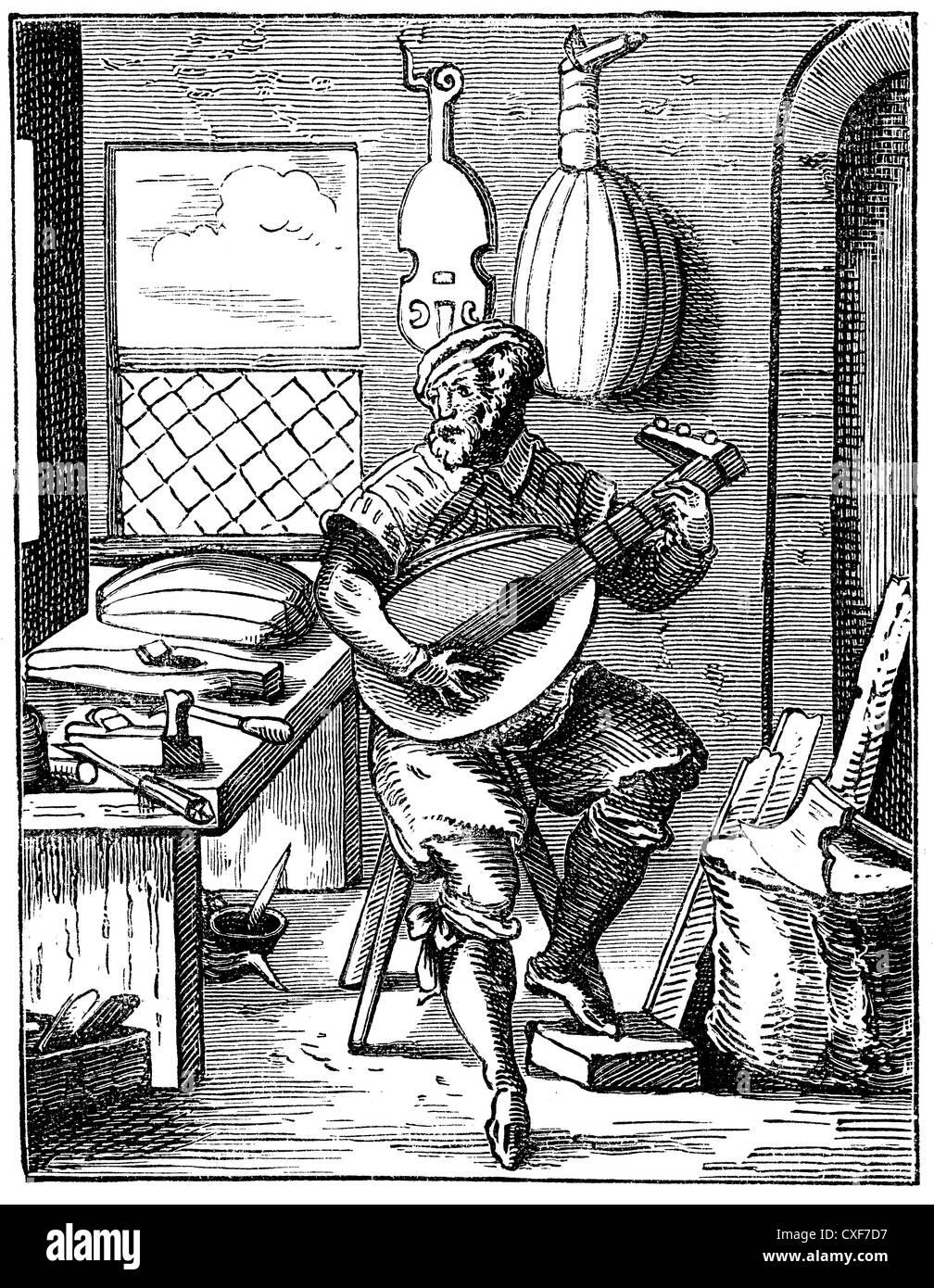 Historische Zeichnung, deutsche laute Maker, um 1568 Stockbild