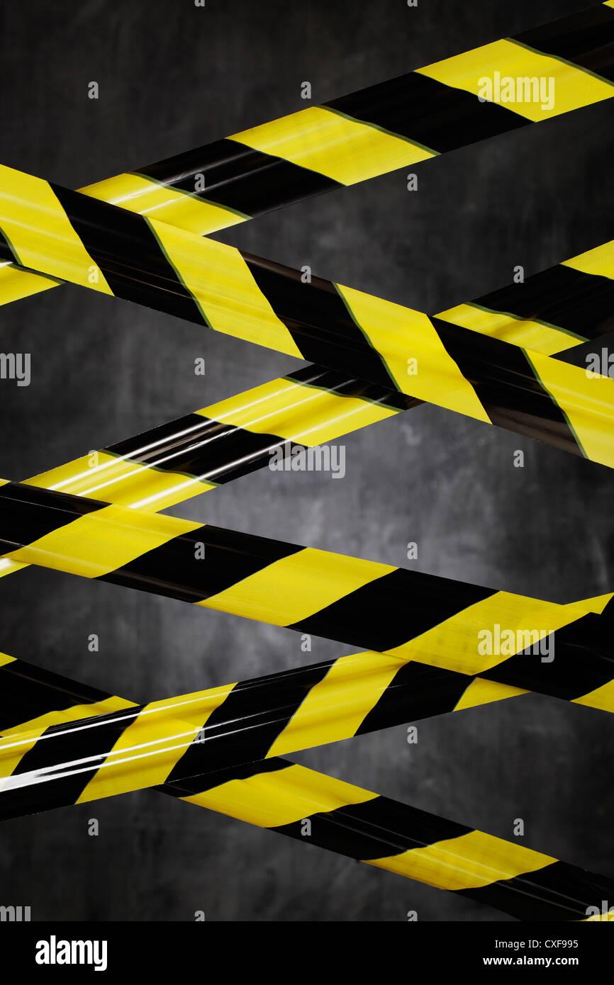 Gut gemocht Schwarz und gelb Kunststoff Absperrband versperrt den Weg ZP89